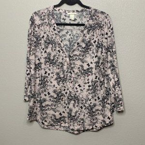 H&M Pink Floral Long Sleeve Tee Size Large